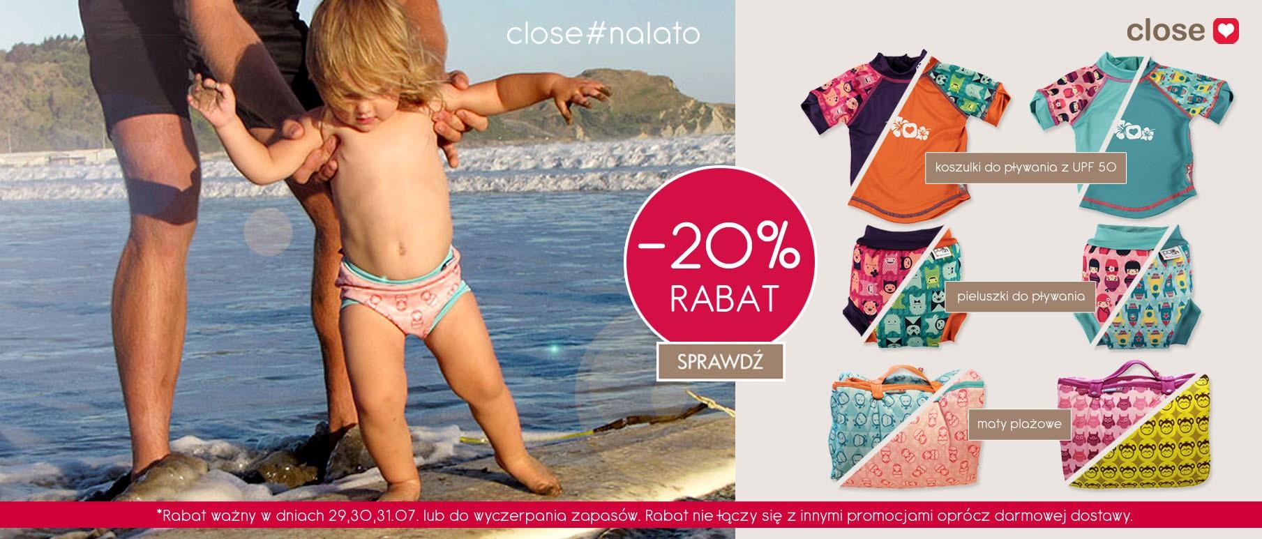 Weekend bezpłatnej dostawy i -20% na ofertę koszulek i pieluch Close do pływania @ EkoDrogeria