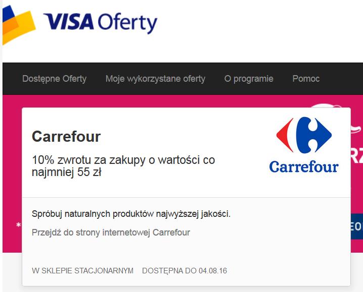 Visa Oferty @ Carrefour - 10% zwrotu za zakupy o wartości co najmniej 55 zł