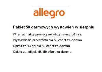 Allegro - pakiet 50 darmowych wystawień do końca sierpnia