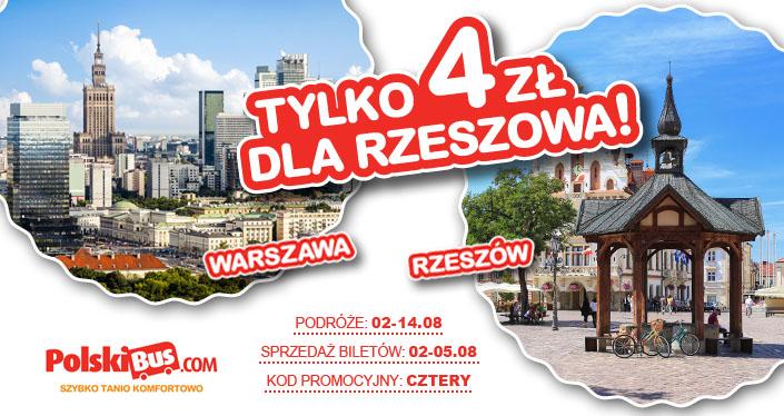 Polski Bus, Rzeszów – Warszawa (4 zł+ 1 zł opłaty rezerwacyjnej), na podróże pomiędzy wtorkiem 2 sierpnia a niedzielą 14 sierpnia.