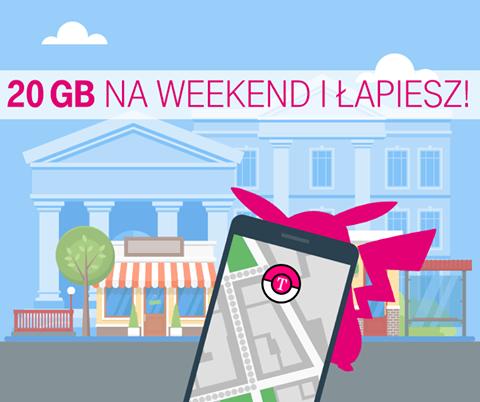 Pakiet internetowy 20GB (2x10GB) na weekend za darmo! @ T-Mobile