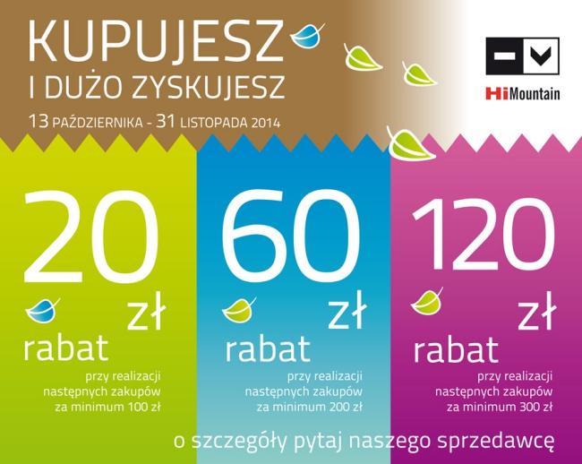Rabat 20zł, 60zł lub 120zł za dokonane zakupy @ HiMountain