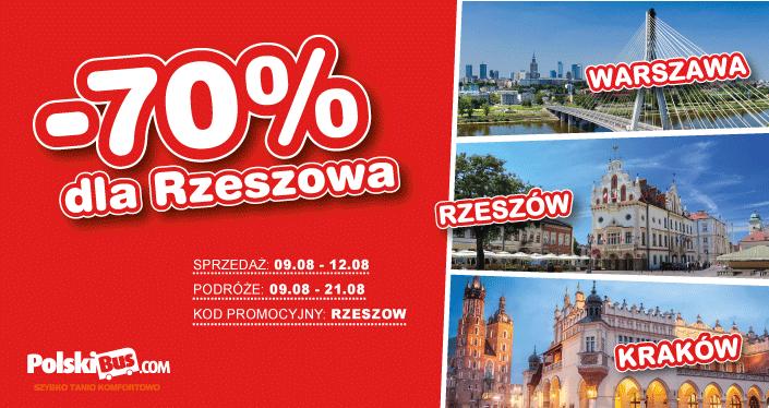 Polski Bus,  bilety tańsze aż o 70%, Trasa Rzeszów – Warszawa oraz nowość: Rzeszów – Kraków!