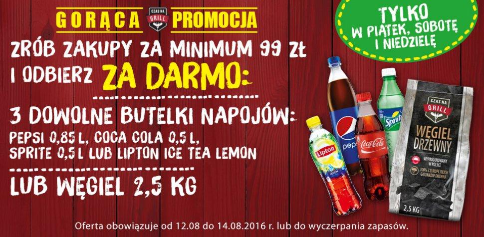 Darmowy węgiel do grilla lub 3 napoje gratis w Biedronce (przy zakupach za 99zł)