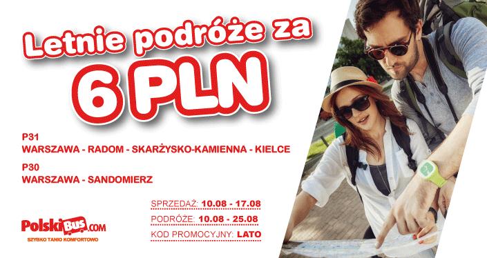 Polski Bus, letnie podróże za 6 zł, Warszawa-Sandomierz, Warszawa-Radom-Skarżysko-Kamienna-Kielce