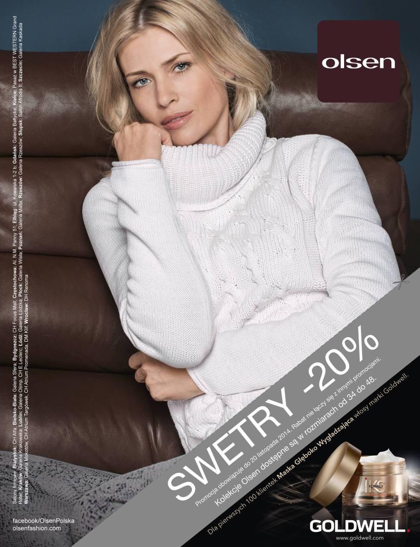 20% rabatu na swetry + gratis dla 100 klientów @ Olsen