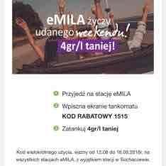 Tańsza wacha na stacjach eMila w weekend @eMila