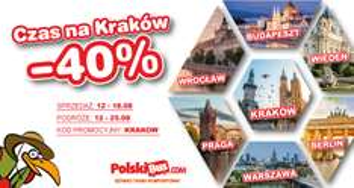Polski Bus, -40% na przejazdy z Krakowa do Pragi, Wiednia, Budapesztu, Berlina, Wrocławia, Warszawy, Rzeszowa.