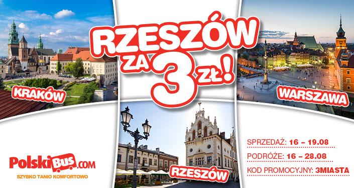 Polski Bus, Rzeszów za 3 zł - Oferta obowiązuje na wszystkie podróże pomiędzy Rzeszowem i Warszawą oraz Rzeszowem i Krakowem przez najbliższe 12 dni