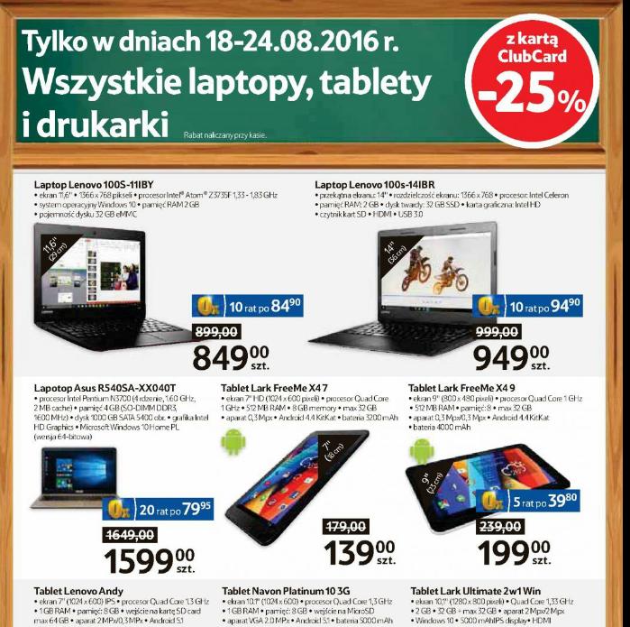 -25% na WSZYSTKIE laptopy, tablety, drukarki w tesco
