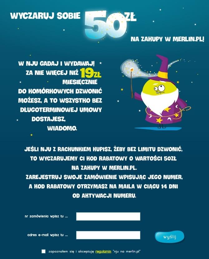AKTUALIZACJA - 50zł do Merlin.pl za przeniesienie lub zakup numeru w nju mobile na rachunek @ Nju