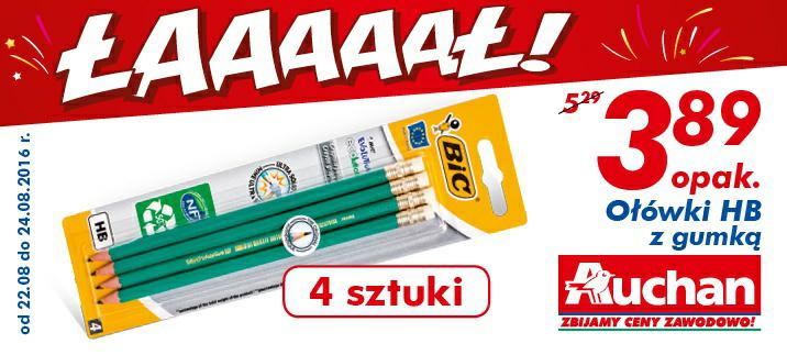 Ołówki HB z gumką BIC 1 opak/4 szt @Auchan