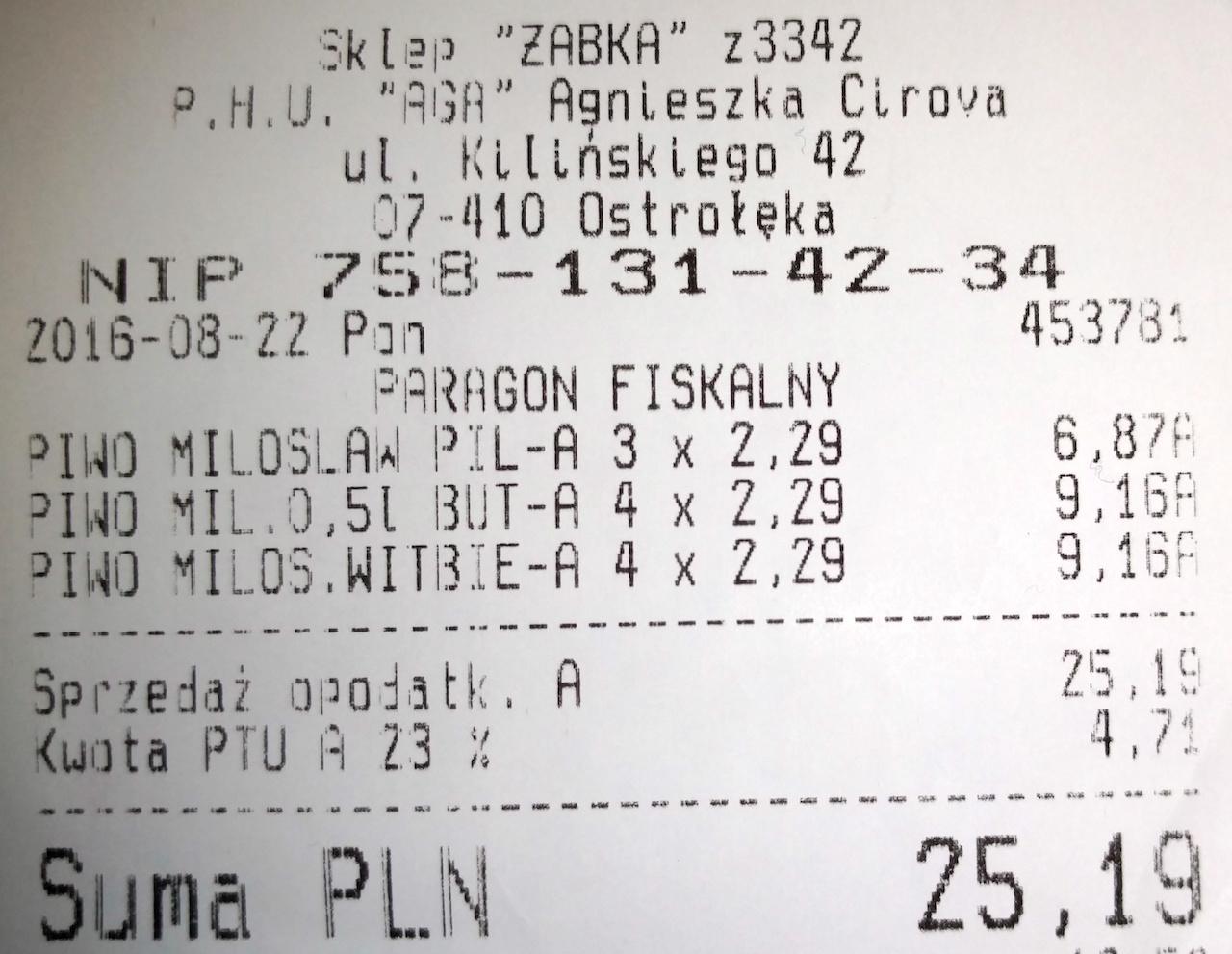 Piwo Miłosław 0,5l po 2,29zł (różne rodzaje) @ Żabka