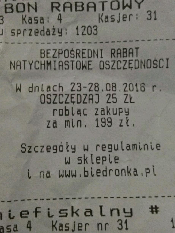 Rabat 25zl za zakupy za min. 199zł @ Biedronka