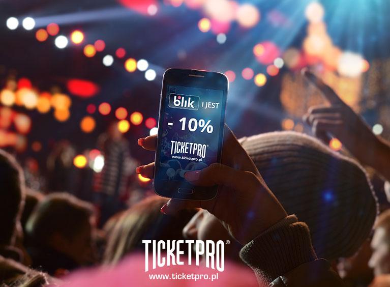 10% rabatu na dowolne bilety (koncerty, imprezy sportowe itp.) za płatność BLIKiem @ Ticketpro