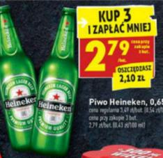 Piwo Heineken  0.65 za 2.79 przy zakupie 3 sztuk w Biedronce