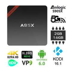 Nexbox A95X Amlogic S905X 2G DDR3 RAM 16G eMMC ROM Android 6.0 2.4G+5.0G Dual Band WiFi 4K 60fps Kodi 16.1 Bluetooth 4.0 HDR VP9 H.265 HEVC Android TV Box Mini PC