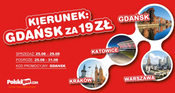 Polski Bus, Gdańsk za 19 zł, (z Warszawy, Katowic lub Krakowa)