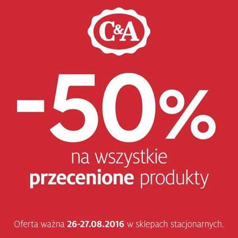 -50% na przecenione produkty w C&A od 26 do 27 sierpnia (stacjonarnie)