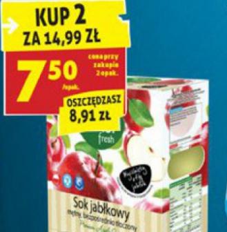 #Biedronka: Sok jabłkowy świeżo tłoczony 3l za 7,50zł