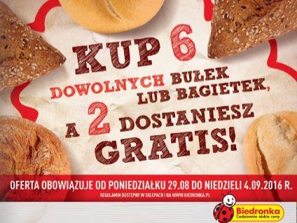 Przy zakupie 6 bułek/bagietek - 2 gratis @ Biedronka