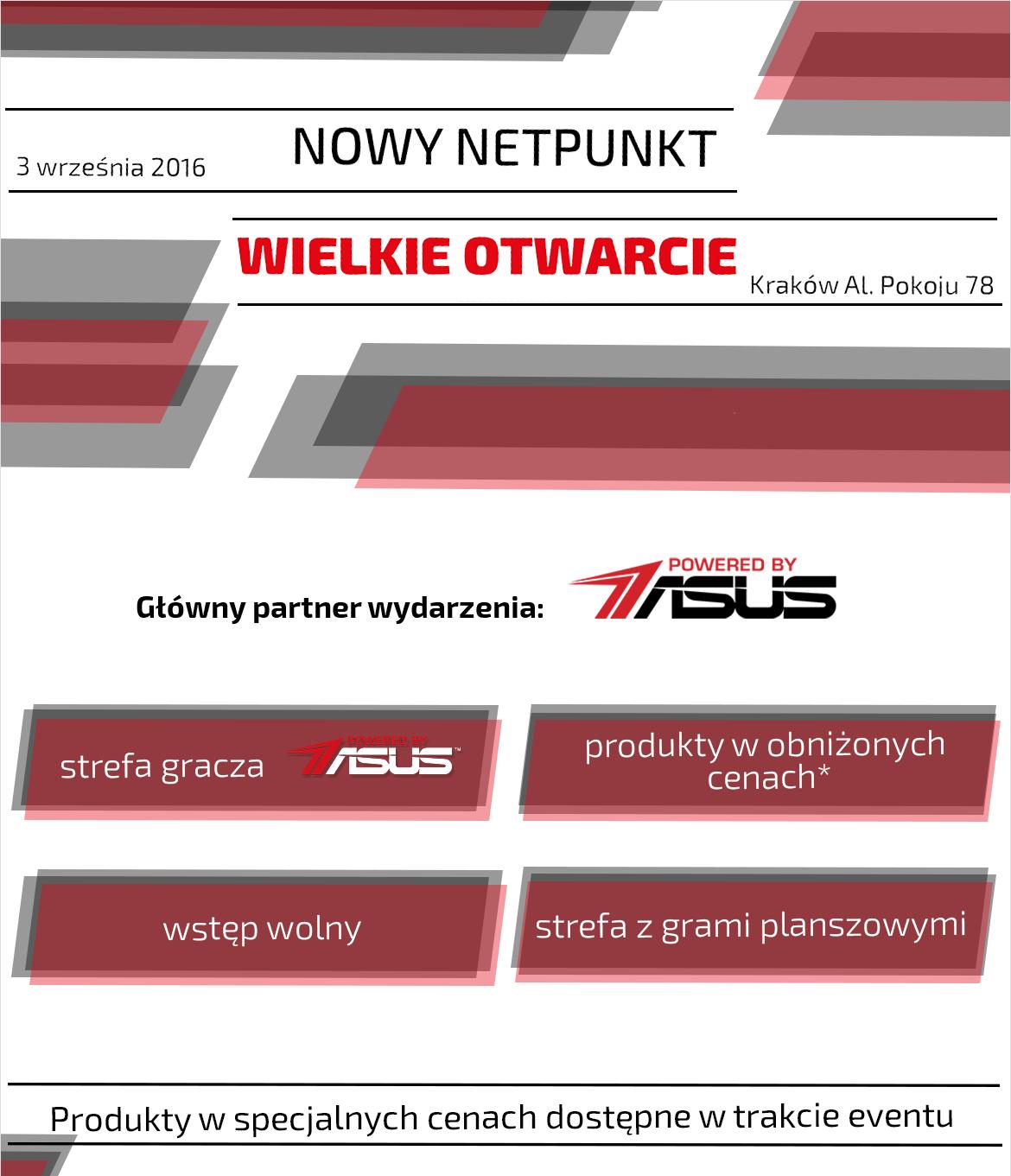 Otwarcie NETPunktu w Krakowie (Klawiatura Asus Cerberus za 129zł, SSD 120GB A-Data za 129zł i inne) @ Morele