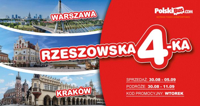 Polski Bus,Rzeszów - Warszawa, Rzeszów-Kraków, za 5 zł (4 zł + 1 zł opłata rezerwacyjna)