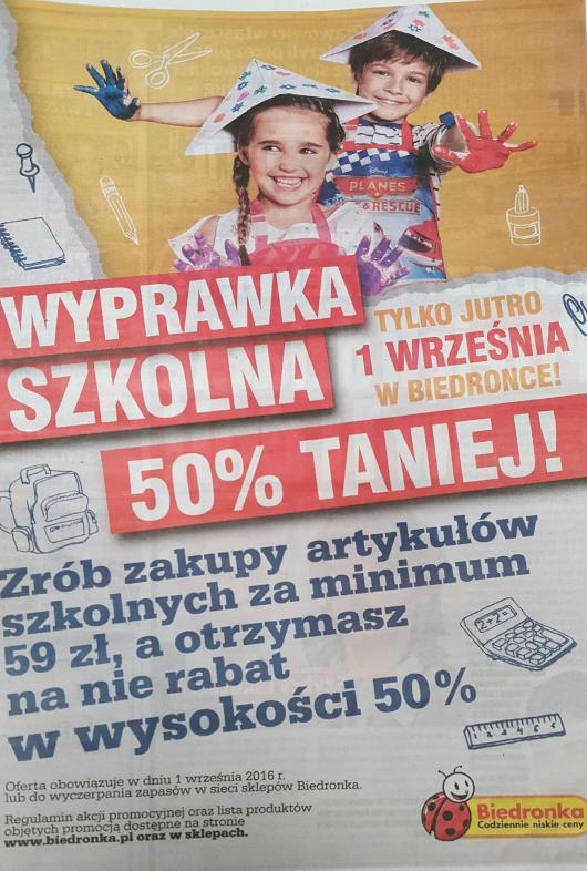 Wyprawka szkolna 50% taniej w Biedronce
