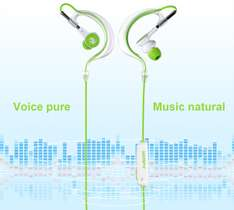 AUSDOM S10 Bluetooth Sport Earphone  -  WHITE AND GREEN