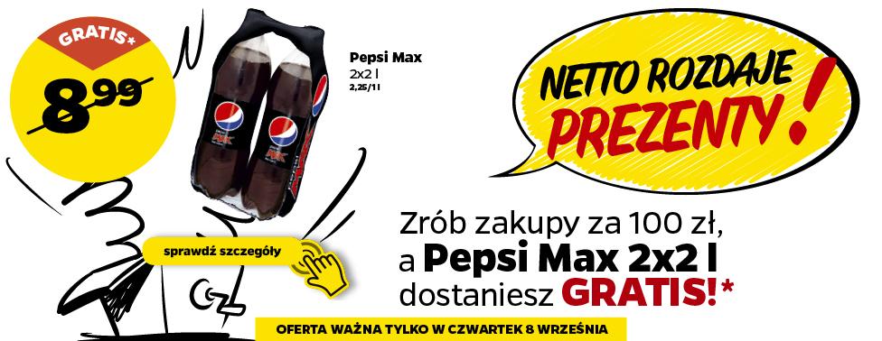 Zrób zakupy za 100 zł a Pepsi Max 2x2 l dostaniesz GRATIS! @Netto