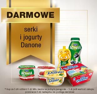 Darmowe serki i jogurty Danone (MWZ 5zł - zwrot 5zł czyli nawet 100%)