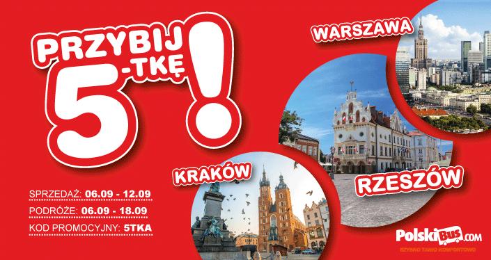 Polski Bus, bilety za 5 zł + 1zł opłata rezerwacyjna,  Rzeszów-Warszawa oraz Rzeszów-Kraków w obie strony