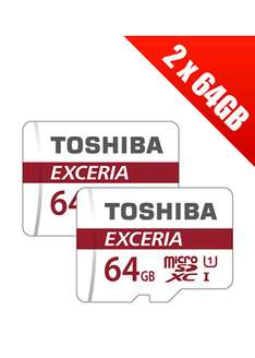 2 x Toshiba Exceria 64GB MicroSDXC Card Class 10 with SD Adapter