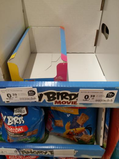 Batonik zbożowy Angry Birds za 0.39 gr. Rabat min 60%.