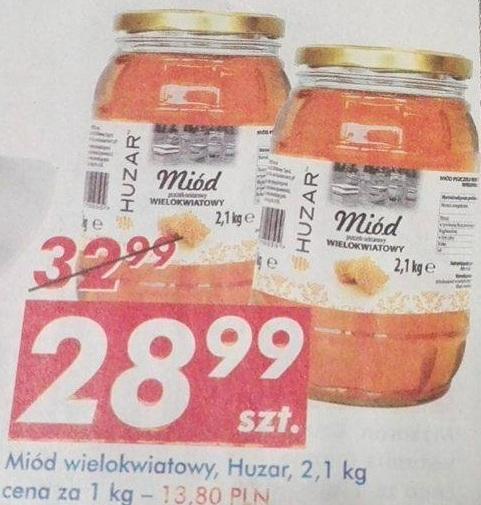 Miód Wielokwiatowy Huzar 2,1 kg (13,80zł za 1kg) AUCHAN
