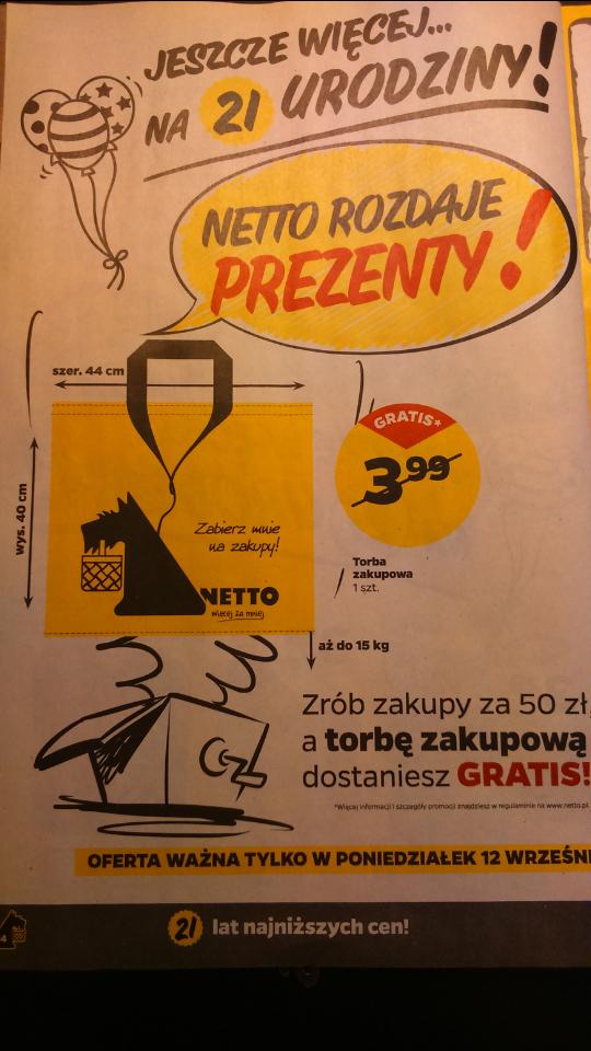 Zrób zakupy za min 50 zł a torbę zakupową dostaniesz GRATIS! @Netto