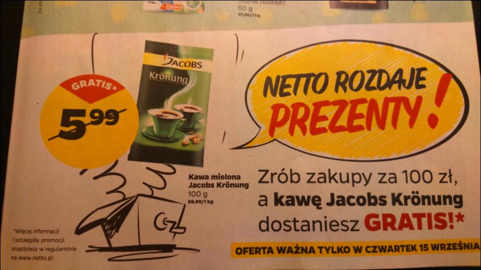 Zrób zakupy za min 100 zł a dostaniesz kawę Jacobs Krönung 100g GRATIS! @Netto