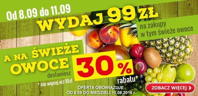 Wydaj 99 zł na zakupy w tym świeże owoce a na świeże owoce dostaniesz 30% rabatu* @Biedronka