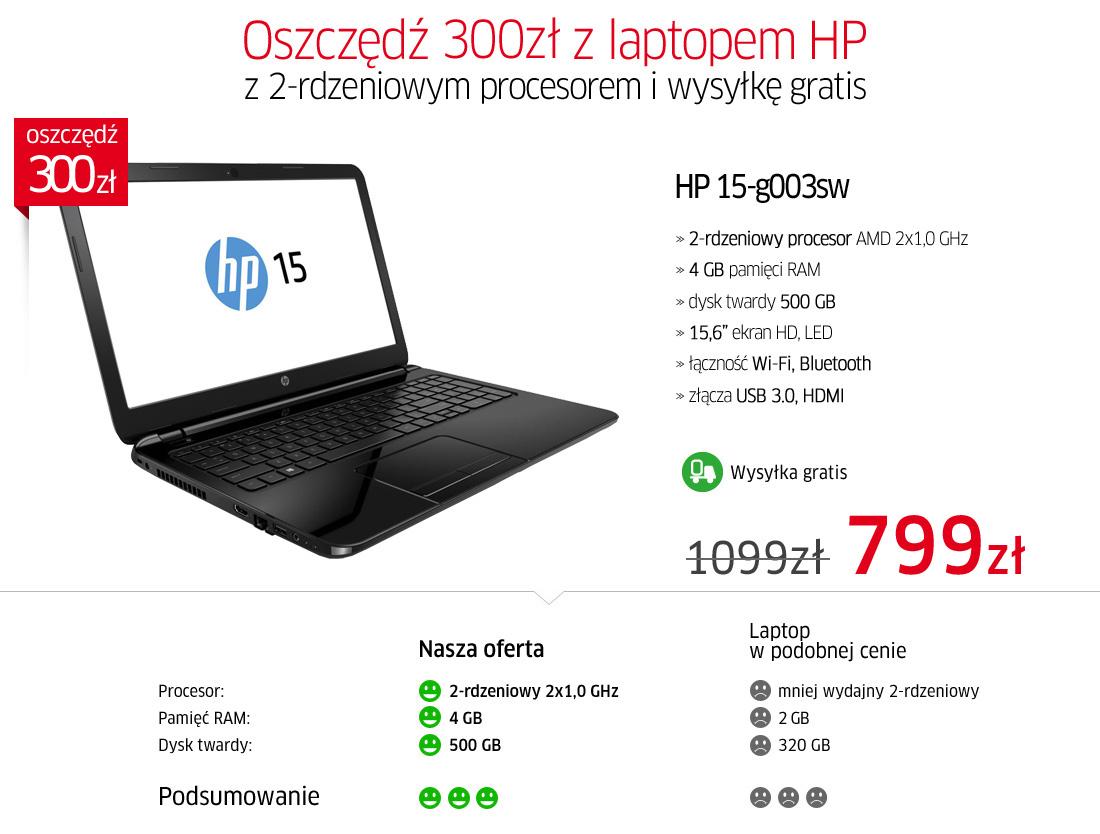 NOWY LAPTOP HP 15-G003SW (15,6',4GB ram, dysk 500GB) za 799zł @ Allegro