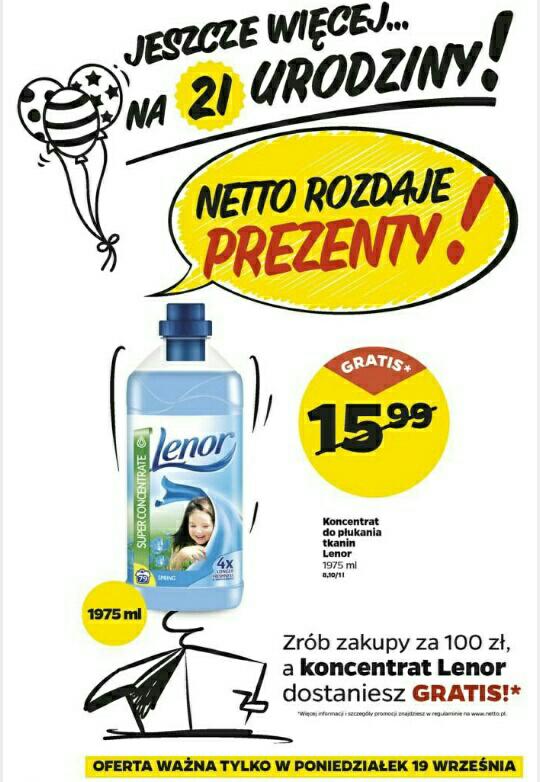 Zrób zakupy za min 100 zł a koncentrat Lenor 1,975 l dostaniesz gratis @Netto