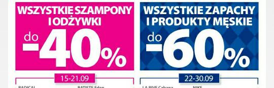 Wszystkie 1.szampony i odżywki -40%/2.zapachy i produkty męskie -60% @Hebe