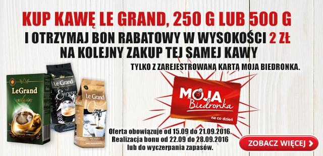 Kup kawę Le Grand 250 lub 500g i otrzymaj bon 2 zł na kolejny zakup tej samej kawy @Biedronka