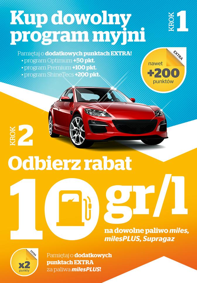 Rabat 10g na każdy litr paliwa przy zakupie dowolnego programu na myjni @ Statoil