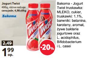 Zdrowy jogurt pitny owocowy TWIST za 1.99zł TESCO