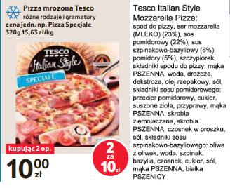 Pizza Mrożona Italian Style Tesco za 5 zł przy zakupie 2 szt