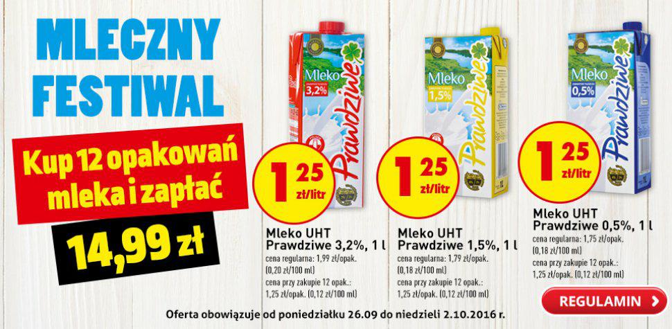 Kup 12 opakowań mleka i zapłać 14.99 zł @Biedronka