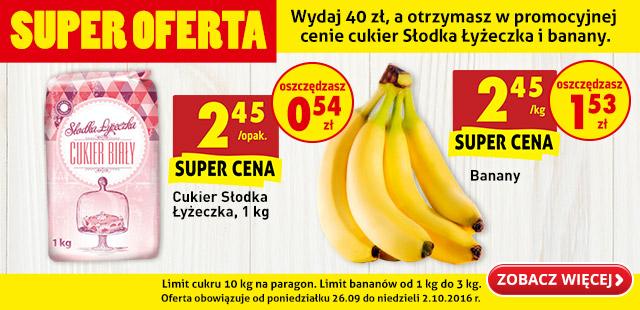 Wydaj 40 zł a otrzymasz cukier słodka łyżeczka i banany w promocyjnej cenie @Biedronka