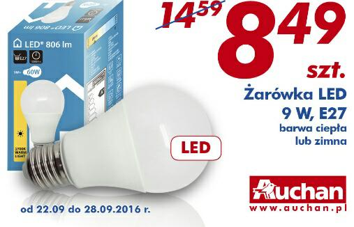 Żarówka LED 9W E27 barwa ciepła lub zimna szt @Auchan