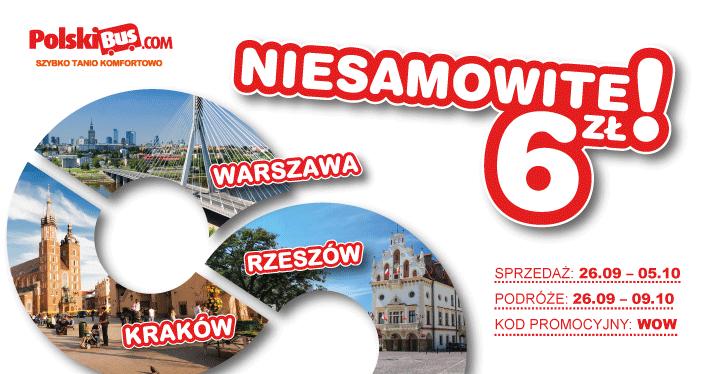 Polski Bus, 6zł + 1zł (opłata rezerwacyjna)  Rzeszów-Warszawa oraz Rzeszów-Kraków