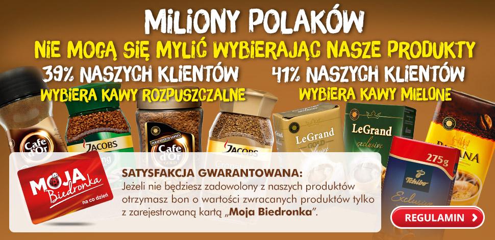 """Satysfakcja gwarantowana, czyli 100% zwrotu za zakup kawy dla """"niezadowolonych"""" za zakup w Biedronce"""